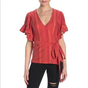 NWT Free People Wrap V Neck Striped Ruffle Top XS